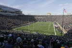 FILE  - In this Nov. 16, 2019, file photo, fans wait for Notre Dame and Navy to play in an NCAA college football game, in South Bend, Ind. In a quirk this season, No. 5 Notre Dame enjoys a greater home-field advantage than most of its opponents: As of now, the Fighting Irish are slated to play in front of only one crowd bigger than their own, which is limited to about 10,000 people because of the pandemic. (AP Photo/Darron Cummings, File)
