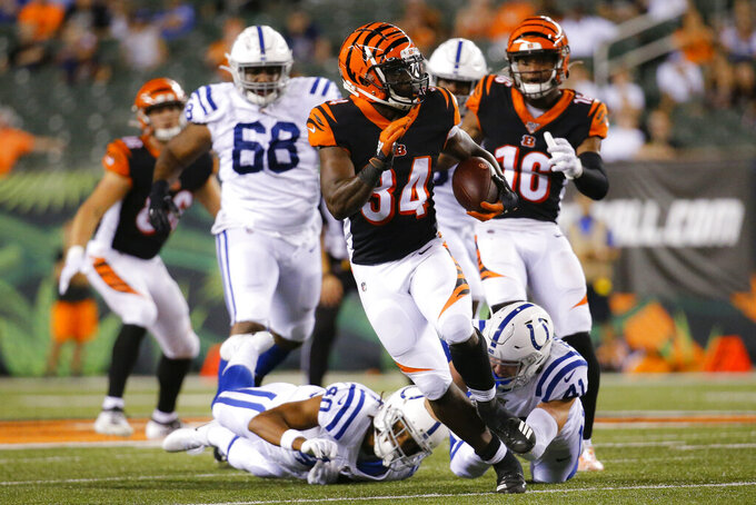 Cincinnati Bengals running back Quinton Flowers carries the ball during the second half of the team's NFL preseason football game against the Indianapolis Colts, Thursday, Aug. 29, 2019, in Cincinnati. (AP Photo/Frank Victores)