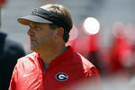 Georgia coach Kirby Smart looks on during warmups for an NCAA college football preseason scrimmage in Athens, Ga., Saturday, Aug. 17, 2019. (Joshua L. Jones/Athens Banner-Herald via AP)