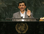 FILE - In this Sept. 25, 2007, file photo, Iranian President Mahmoud Ahmadinejad addresses the 62nd session of the United Nations General Assembly at the United Nations Headquarters. Iran has often commanded center stage at the annual U.N. gathering of world leaders, turning the organization's headquarters into an arena for arguments over the Persian Gulf's daily complexities and hostilities. At times, Ahmadinejad's incendiary statements at the U.N. would overshadow all else. (AP Photo/Ed Betz, File)