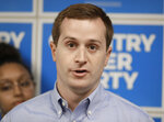 FILE - In this May 15, 2019, file photo, Ninth Congressional district Democratic candidate Dan McCready answers a question during a news conference in Charlotte, N.C. McCready and Republican Dan Bishop are expected to debate Wednesday, Aug. 28, in North Carolina's 9th congressional district contest. A special election on September 10 was called after ballot fraud was discovered in last year's race. (AP Photo/Chuck Burton, File)