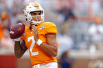 Tennessee quarterback Jarrett Guarantano (2) looks for a receiver in the first half of an NCAA college football game against South Carolina, Saturday, Oct. 26, 2019, in Knoxville, Tenn. (AP Photo/Wade Payne)