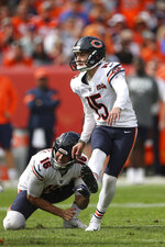 Chicago Bears kicker Eddy Pineiro (15) kicks a field goal during an NFL game against the Denver Broncos, Sunday Sept. 15, 2019, in Denver. The Bears defeated the Broncos 16-14. (Margaret Bowles via AP)