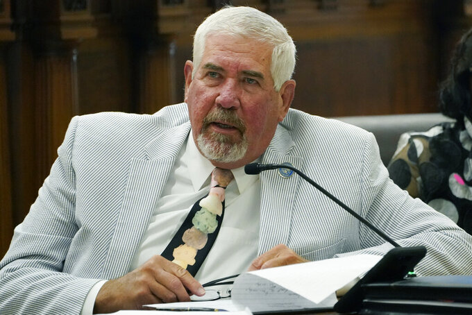 State Senator Kevin Blackwell, R-Southaven, left, asks a question during a hearing of the Mississippi Senate Public Health and Welfare Committee on medical marijuana, Monday, June 28, 2021, at the Capitol in Jackson, Miss. (AP Photo/Rogelio V. Solis)