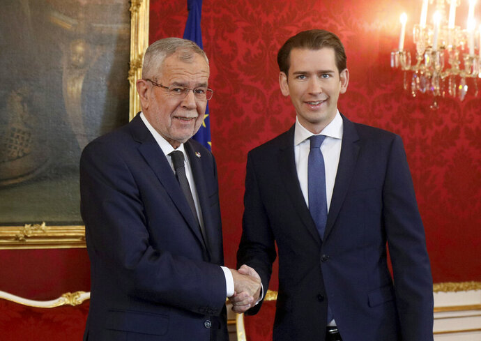 Austrian President Alexander Van der Bellen, left, welcomes Sebastian Kurz, right, head of the Austrian People's Party, OEVP, prior to their talks at the Hofburg palace in Vienna, Austria, Monday, Oct. 7, 2019. Kurz will get the order to form a new government after the federal elections. (AP Photo/Ronald Zak)