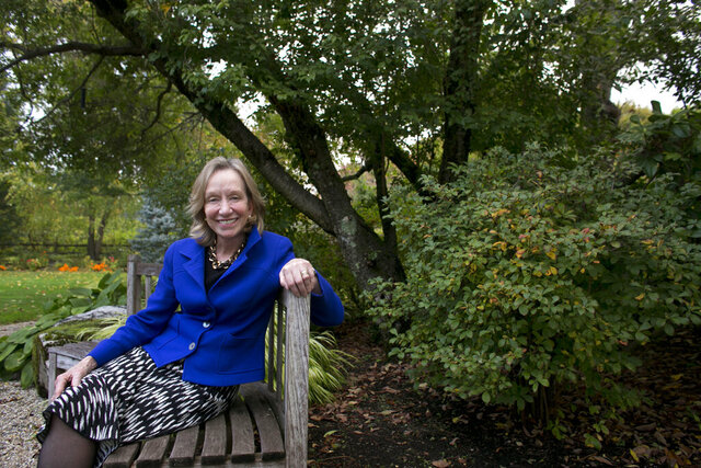 FILE - In this Oct. 7, 2013, file photo, author Doris Kearns Goodwin poses for a portrait at her home in Concord, Mass. Goodwin is the executive producer of the History channel's six-hour docudrama,