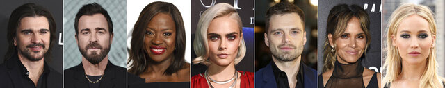 In this combination photo of celebrities with birthdays from Aug. 9-15, Juanes, from left, arrives at the Latin Recording Academy Person of the Year gala in his honor on Nov. 13, 2019, in Las Vegas, Justin Theroux attends the launch of New Tiffany and Co. Men's Collection on Oct. 11, 2019, in Los Angeles, Viola Davis attends the Disney ABC Television Critics Association Summer Press Tour on Aug. 6, 2017, in Beverly Hills, Calif., Viola Davis attends the Disney ABC Television Critics Association Summer Press Tour on Aug. 6, 2017, in Beverly Hills, Calif., Cara Delevingne attends the STX Films The State of the Industry: Past, Present and Future presentation during CinemaCon on March 28, 2017, in Las Vegas, Sebastian Stan attends the