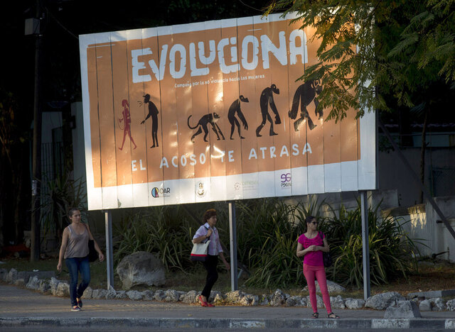 In this Dec. 9, 2019 photo, a billboard reads in Spanish