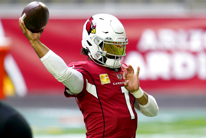 Arizona Cardinals quarterback Kyler Murray (1) warms up prior to an NFL football game against the Miami Dolphins, Sunday, Nov. 8, 2020, in Glendale, Ariz. (AP Photo/Ross D. Franklin)