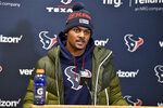 Houston Texans quarterback Deshaun Watson speaks during a news conference following an NFL divisional playoff football game against the Kansas City Chiefs in Kansas City, Mo., Sunday, Jan. 12, 2020. Star quarterback Deshaun Watson has requested a trade from the Houston Texans, a person familiar with the move told The Associated Press. The person spoke to the AP on the condition of anonymity Thursday, Jan. 28, 2021, because they weren't authorized to discuss the request publicly. (AP Photo/Ed Zurga, File)