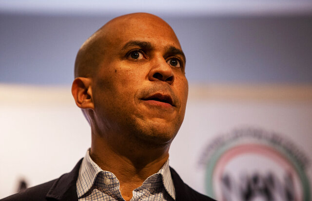 Cory Booker speaks Thursday, Nov. 21, 2019, in Atlanta. Booker, along with Pete Buttigieg, Amy Klobuchar, Andrew Yang and Tom Steyer, all presidential hopefuls, spoke at the breakfast event hosted by the Al Sharpton's National Action Network. (AP Photo/ Ron Harris)