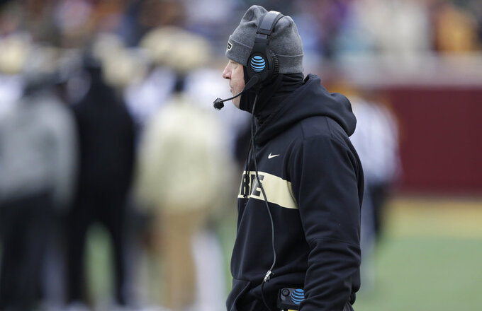 Purdue head coach Jeff Brohm against Minnesota in the first half of a NCAA college football game Saturday, Nov. 10, 2018, in Minneapolis. (AP Photo/Andy Clayton-King)