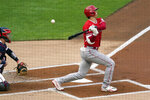 Los Angeles Angels' Shohei Ohtani fouls off a ball during the first inning of the team's baseball game against the Minnesota Twins, Thursday, July 22, 2021, in Minneapolis. Ohtani struck out swinging on the at-bat. (AP Photo/Jim Mone)
