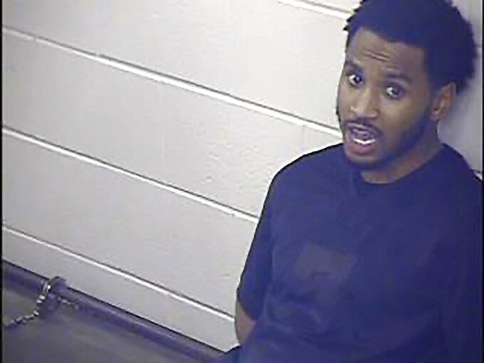 This undated photo provided by the Jackson County Detention Center, In Kansas City, Missouri shows Trey Songz. R&B artist Songz was arrested and jailed overnight after he scuffled with several officers while being arrested for not following coronavirus protocols during the AFC championship game in Kansas City, police said Monday, Jan. 25, 2021. (Jackson County Detention Center via AP)