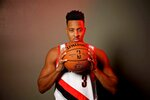 Portland Trail Blazers guard CJ McCollum poses during the NBA basketball team's media day at the Moda Center in Portland, Ore., Monday, Sept. 30, 2019. (AP Photo/Sam Ortega)