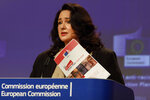 European Commissioner for Equality Helena Dalli participates in a media conference on the EU anti-racism Action Plan at EU headquarters in Brussels, Friday, Sept. 18, 2020. (AP Photo/Olivier Matthys, Pool)