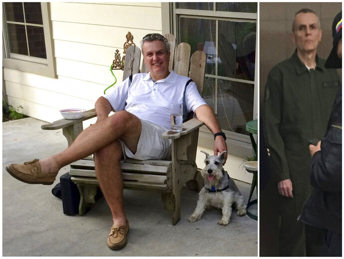 This photo combo shows Citgo executive Tomeu Vadell at his home in Lake Charles, Louisiana in July 2015, left, and three and a half years later while in confinement in a Venezuelan jail in January 2019. Vadell's family says he's lost more than 60 pounds due to malnutrition since he and five other Citgo employees were arrested, for alleged embezzlement and treason, during a meeting at Venezuela's state oil company PDVSA the weekend before Thanksgiving in 2017. The photo at left was provided by Tomeu's daughter Cristina, and the photo at right was obtained by The Associated Press.  (Cristina Vadell via AP, left, and AP photo, right)