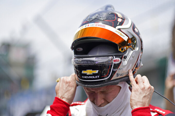 Josef Newgarden prepares to drive during practice for the Indianapolis 500 auto race at Indianapolis Motor Speedway, Friday, May 21, 2021, in Indianapolis. (AP Photo/Darron Cummings)