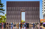 Survivors, friends and family members gather during the 26th Anniversary Remembrance Ceremony at the Oklahoma City National Memorial and Museum in Oklahoma City, Okla on Monday, April 19, 2021. (Chris Landsberger/The Oklahoman via AP)
