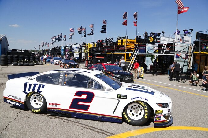 Brad Keselowski drives for a practice session for the NASCAR cup series race at Michigan International Speedway, Friday, June 7, 2019, in Brooklyn, Mich. (AP Photo/Carlos Osorio)