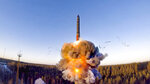 FILE - In this file photo taken from a video distributed by Russian Defense Ministry Press Service, on Wednesday, Dec. 9, 2020, a rocket launches from missile system as part of a ground-based intercontinental ballistic missile test launched from the Plesetsk facility in northwestern Russia. Russia and the United States exchanged documents Tuesday Jan 26, 2021, to extend the New START nuclear treaty, their last remaining arms control pact, the Kremlin said. The Kremlin readout of a phone call between U.S. President Joe Biden and Russian President Vladimir Putin said they voiced satisfaction with the move. (Russian Defense Ministry Press Service via AP, File)