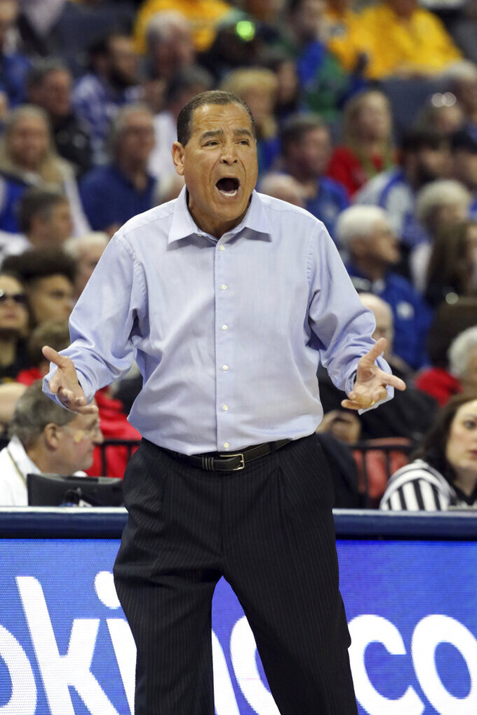 Houston Head Coach Kelvin Sampson shouts to his players in the first half of an NCAA college basketball game at the American Athletic Conference tournament Saturday, March 16, 2019, in Memphis, Tenn. (AP Photo/Troy Glasgow)