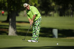 John Daly putts on the 13th green of the Silverado Resort North Course during the first round of the Safeway Open PGA golf tournament Thursday, Sept. 26, 2019, in Napa, Calif. (AP Photo/Eric Risberg)