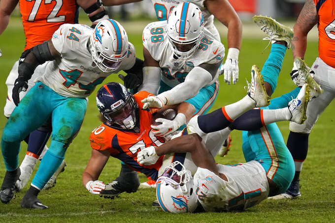 Denver Broncos running back Phillip Lindsay (30) is hit by Miami Dolphins free safety Eric Rowe (21) as outside linebacker Elandon Roberts (44) and defensive tackle Raekwon Davis (98) defend during the second half of an NFL football game, Sunday, Nov. 22, 2020, in Denver. The Broncos won 20-13. (AP Photo/David Zalubowski)