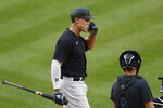 New York Yankees' Aaron Judge reacts after an at-bat during an intrasquad baseball game Monday, July 6, 2020, at Yankee Stadium in New York. (AP Photo/Kathy Willens)
