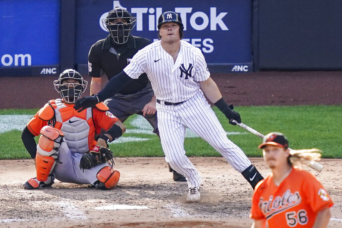 New York Yankees' Luke Voit hits a walkoff RBI sacrifice fly off Baltimore Orioles relief pitcher Hunter Harvey in the 10th inning of a baseball game, Saturday, Sept. 12, 2020, in New York. (AP Photo/John Minchillo)