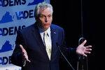 Democratic gubernatorial candidate, former Gov. Terry McAuliffe, gestures during the last primary debate in Newport News, Va., Tuesday, June 1, 2021. The primary is on June 8. (AP Photo/Steve Helber)