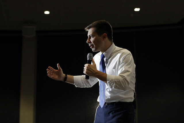 Democratic presidential candidate, former South Bend, Ind., Mayor Pete Buttigieg speaks during a campaign event, Monday, Jan. 27, 2020, in North Liberty, Iowa. (AP Photo/Marcio Jose Sanchez)