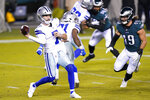 Dallas Cowboys' Ben DiNucci passes during the first half of an NFL football game against the Philadelphia Eagles, Sunday, Nov. 1, 2020, in Philadelphia. (AP Photo/Chris Szagola)