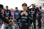Pato O'Ward (5) before the start an IndyCar auto race at World Wide Technology Raceway on Saturday, Aug. 21, 2021, in Madison, Ill. (AP Photo/Jeff Roberson)