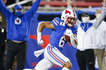 SMU wide receiver Austin Upshaw (6) runs a pass in for a touchdown during the second half of the team's NCAA college football game against Navy, Saturday, Oct. 31, 2020, in Dallas. (AP Photo/Brandon Wade)