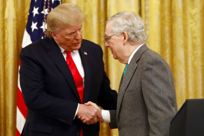 President Donald Trump shakes hands with Senate Majority Leader Mitch McConnell of Ky., in the East Room of the White House during an event about Trump's judicial appointments, Wednesday, Nov. 6, 2019, in Washington. (AP Photo/Patrick Semansky)