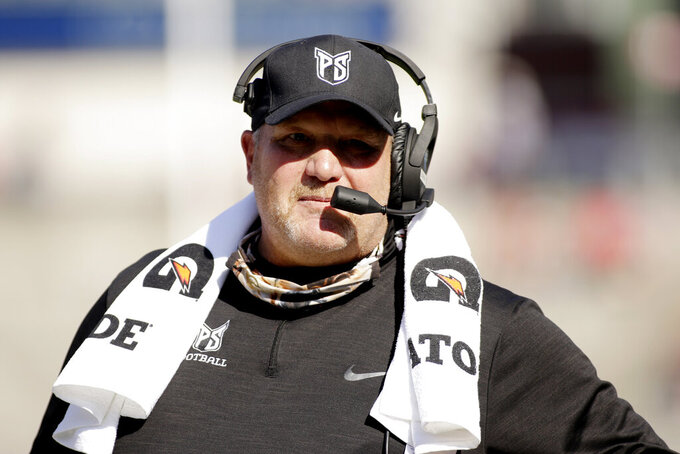 Portland State head coach Bruce Barnum looks on during the first half of an NCAA college football game against Washington State, Saturday, Sept. 11, 2021, in Pullman, Wash. (AP Photo/Young Kwak)