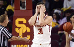Southern California forward Nick Rakocevic reacts after being called for a foul during the second half of the team's NCAA college basketball game against Colorado on Saturday, Feb. 9, 2019, in Los Angeles. Colorado won 69-65. (AP Photo/Mark J. Terrill)
