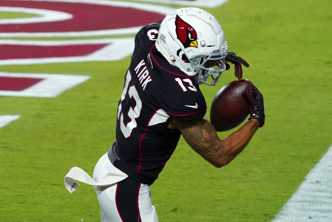 Arizona Cardinals wide receiver Christian Kirk (13) pulls in a touchdown catch against the Seattle Seahawks during the first half of an NFL football game, Sunday, Oct. 25, 2020, in Glendale, Ariz. (AP Photo/Rick Scuteri)