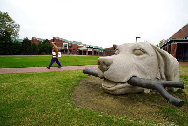 FILE - In this March 24, 2020 file photo, a woman walks past a dog sculpture on the campus of the North Carolina State University College of Veterinary Medicine in Raleigh, N.C.  North Carolina public health officials have reported the state's first confirmed coronavirus case in a dog. The Department of Health and Human Services says there is an ongoing investigation into the cause of death. The department said the dog was taken to the N.C. State Veterinary Hospital on Aug. 3 with respiratory issues and died later that day.   (AP Photo/Allen G. Breed, File)