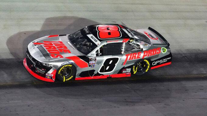 Sam Mayer (8) drives during a NASCAR Xfinity Series auto race at Bristol Motor Speedway Friday, Sept. 17, 2021, in Bristol, Tenn. (AP Photo/Mark Humphrey)