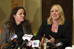 Tiffany Van Dyke, right, wife of a white Chicago police officer who fatally shot black teenager Laquan McDonald, speaks during a news conference Thursday, Feb. 14, 2019, in Chicago as her attorney Tammy Wendt listens. Van Dyke says her husband has been assaulted by inmates in his Connecticut prison cell. Van Dyke was jailed in Rock Island, Illinois, before the move this month to the low-security prison in Danbury, Connecticut. (AP Photo/Teresa Crawford)