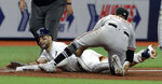 Tampa Bay Rays' Kevin Kiermaier, left, is tagged out by Baltimore Orioles' Rio Ruiz while trying to steal third base during the seventh inning of a baseball game Tuesday, April 16, 2019, in St. Petersburg, Fla. (AP Photo/Chris O'Meara)