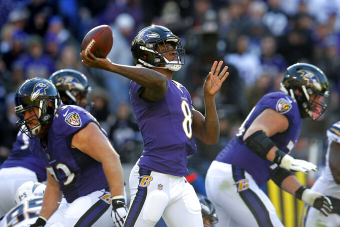 Baltimore Ravens quarterback Lamar Jackson (8) throws a pass in the first half of an NFL wild card playoff football game against the Los Angeles Chargers, Sunday, Jan. 6, 2019, in Baltimore. (AP Photo/Carolyn Kaster)
