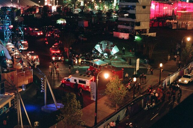 FILE - This Saturday morning, July 27, 1996, file photo shows an overview of Centennial Park in Atlanta after an explosion struck a tower near a stage where thousands of people were watching a concert(AP Photo/Clive Brooks, File)
