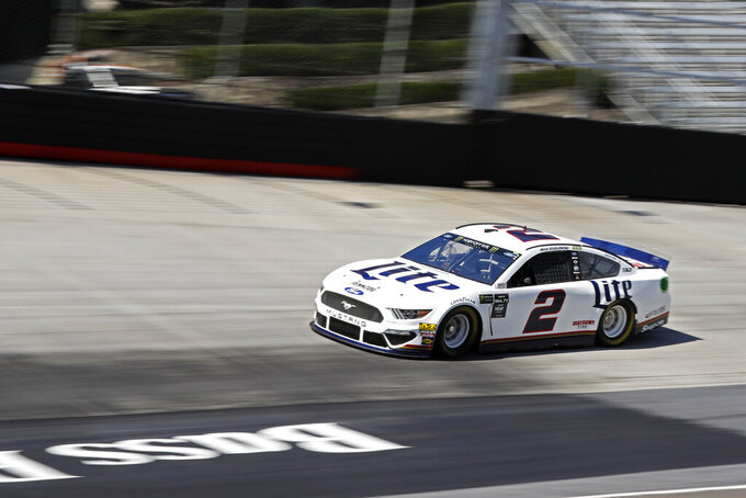 Driver Brad Keselowski makes his was around the track during practice for a NASCAR Cup Series auto race, Friday, Aug. 16, 2019, in Bristol, Tenn. (AP Photo/Wade Payne)