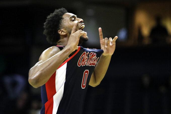 Mississippi guard Blake Hinson celebrates after his team defeated Vanderbilt in an NCAA college basketball game Saturday, Jan. 5, 2019, in Nashville, Tenn. (AP Photo/Mark Humphrey)