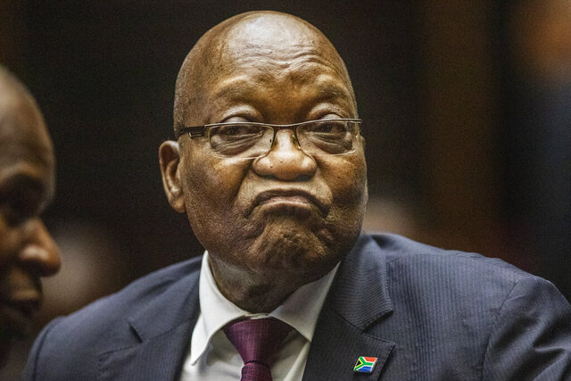 FILE - In this Oct. 15, 2019 file photo, former South African President Jacob Zuma appears in the High Court in Pietermaritzburg, South Africa. Zuma, who was not in court has filed through his lawyers on Friday Nov. 22, 2019, to appeal a court ruling that cleared the way for him to be prosecuted for corruption. (Michele Spatari/Pool via AP, File)