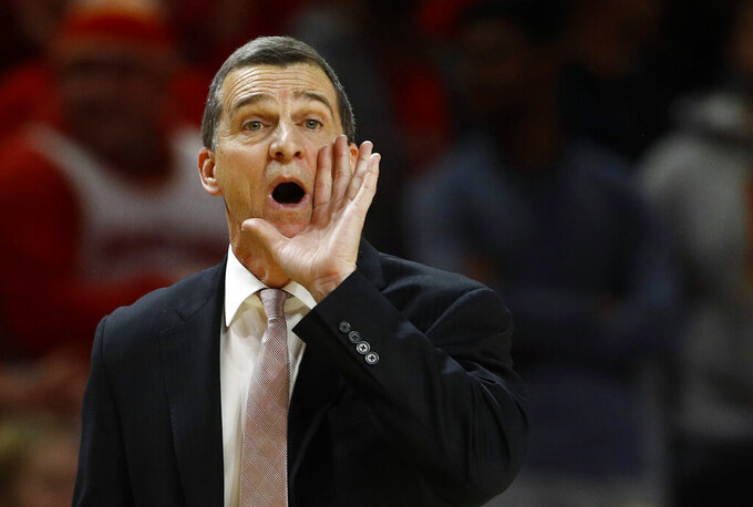 Maryland head coach Mark Turgeon directs his players in the second half of an NCAA college basketball game against Wisconsin, Monday, Jan. 14, 2019, in College Park, Md. (AP Photo/Patrick Semansky)