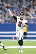 Atlanta Falcons quarterback Matt Ryan (2) throws during the first half of an NFL football game against the Indianapolis Colts, Sunday, Sept. 22, 2019, in Indianapolis. (AP Photo/AJ Mast)